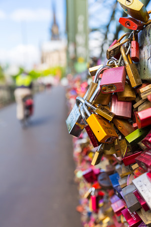 concluded: closeup from Love locks on the Hohenzollern Bridge in Cologne Germany