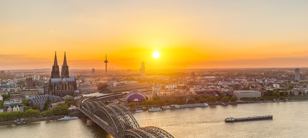 inland waterways: Cologne City with Cathedral at sunset in Germany Editorial