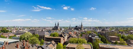 townhall: Panoramic view of Aachen City with Cathedral and Townhall in Germany