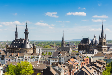 gothic architecture: Aachen city with cathedral and town hall in Germany Stock Photo