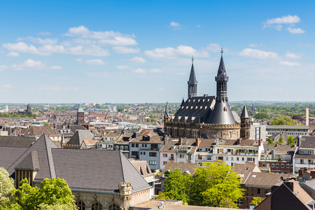 townhall: Aachen city with townhall in Germany