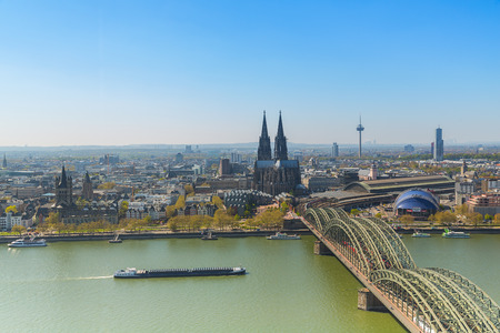 inland: Aerial View of Cologne City at spring in Germany Editorial