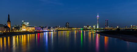 promenade: Dusseldorf on the Rhine river at night in Germany