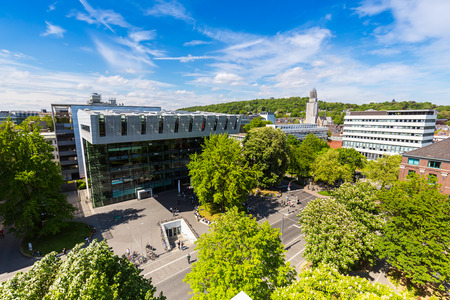 technically: aerial view of the RWTH Aachen University in Germany Campus