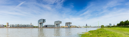 inland waterways: Panoramic view of Cologne in spring at the Rhine shore