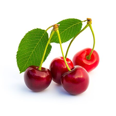 flavour: Group of red cherrys isolated on white background