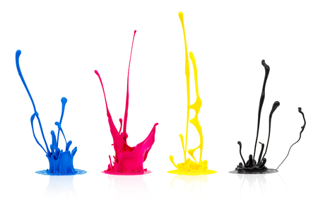 prepress: Group of paint splashes in CMYK colors isolated on white background