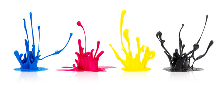 set of paint splashes in CMYK colors isolated on white background