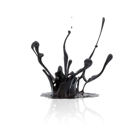 grease paint: splash of black paint isolated on white background