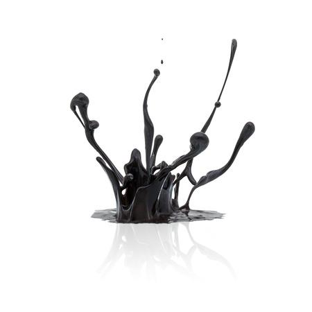 grease paint: splash of black paint isolated on white background