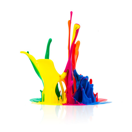 printing inks: splash of Colorful paint isolated on white background
