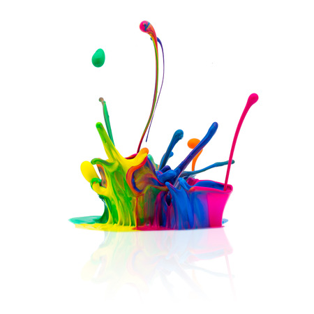 prepress: Colorful splash of oil paint isolated on white