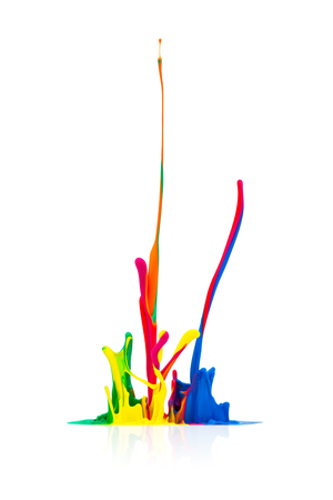 dripping paint: abstract splash Colorful oil paint Stock Photo