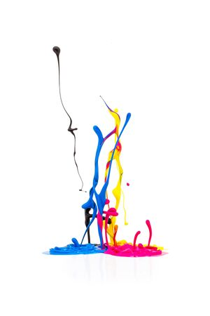 cmyk abstract: abstract splash Colorful paint colors in CMYK