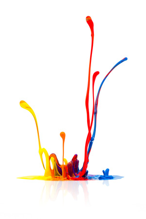 paint: Colorful splash of paint on white background