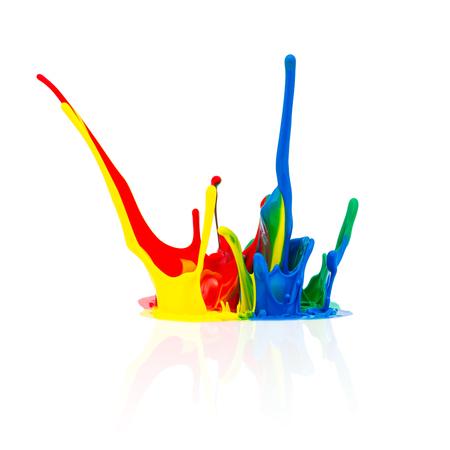 Spritzer Bunte abstrakte Farbe auf weißem Standard-Bild - 45353247