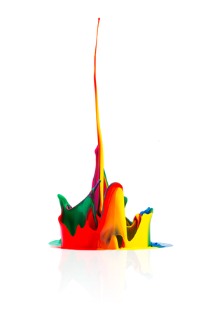 paint: splash of Colorful abstract oil paint isolated on white