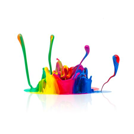 colorful paint: splash of Colorful paint isolated on white