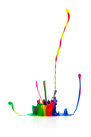 prepress: abstract splash of Colorful paint on white