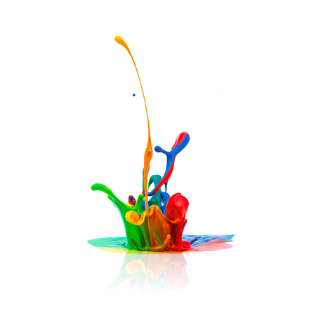 splash of Colorful oil paint isolated on white Stockfoto