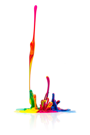 prepress: abstract splash Colorful paint on white background