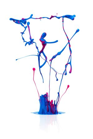 abstract dance: splash of Colorful abstract oil paint isolated on white