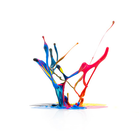 cmyk: Splash of paint in CMYK colors Colorful on white background Stock Photo