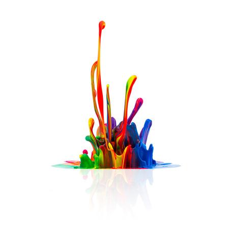 paint splash: Colorful splash of oil paint Stock Photo