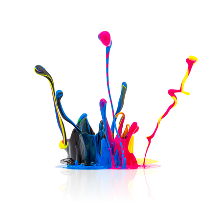 Spritzen Der Farbe In CMYK-Farben Colorful Auf Weißem Hintergrund ...