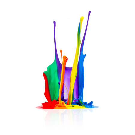 paint background: abstract splash Colorful paint isolated on white background