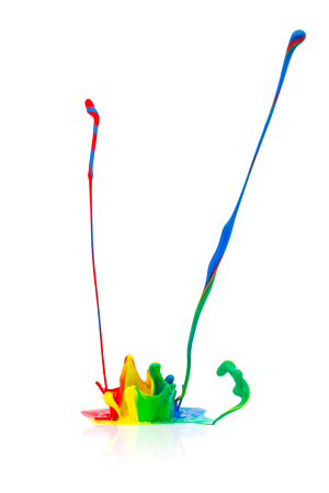 colorful paint: abstract splash of Colorful paint on isolated white background
