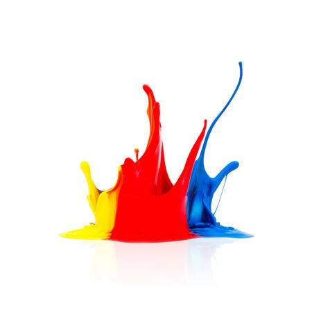 prepress: big splash of Colorful paint isolated on white background