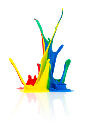 paint splash: abstract splash of Colorful paint on white background Stock Photo