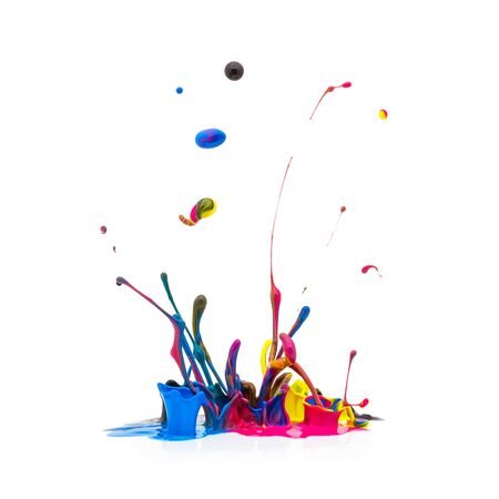 paint drip: Splash of paint in CMYK colors Colorful isolated on white background