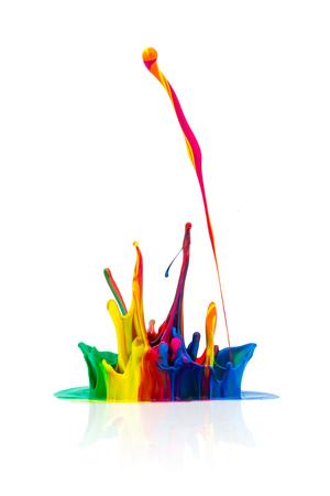 paint splash: splash of Colorful paint on white background