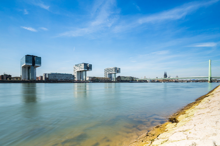 moorings: cologne city with Crane Houses in Germany