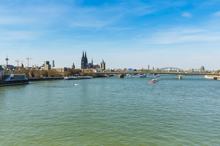 inland waterways: View from the Rhine River of the city with Cologne Cathedral at spring Stock Photo