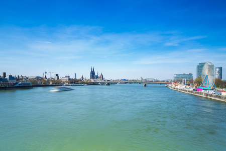 inland waterways: Cologne City at the Rhine river in Germany Stock Photo