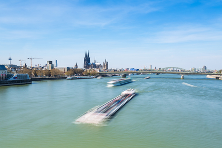 inland waterways: The Rhine river of the Cologne City with Cathedral in Germany
