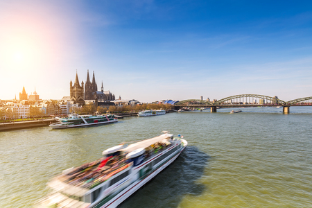 inland waterways: cologne in germany with Cathedral and Hohenzollern bridge