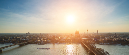 panoramic view: panoramic view of the Cologne City at dusk