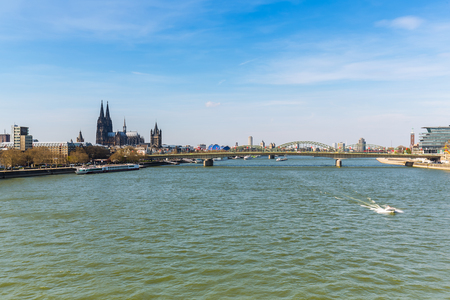 inland waterways: Cologne at the Rhine River in Germany