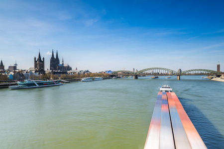 inland waterways: Cologne with Hohenzollern Bridge and Cathedral at Springl in Germany