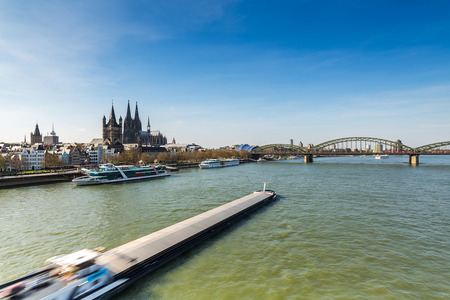 inland waterways: View of Cologne City with Cathedral at the Rhine river in Germany