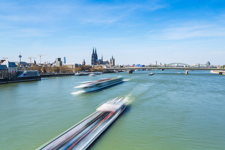 inland waterways: Cologne City at the Rhine river in Germany at spring