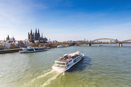 inland waterways: Cologne City at the Rhine river with cathedral