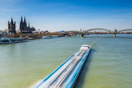 inland waterways: View of the city of Cologne with cathedral