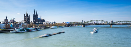 inland waterways: Sykline cologne with cathedral at the Rhine river in Germany