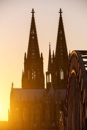 oldtown: Cologne Cathedral at sunset in Germany Stock Photo