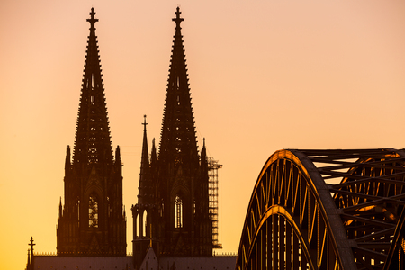 oldtown: Cathedral of Cologne at Sunset in Germany Stock Photo